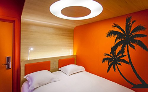 Wall Decal Vinyl Sticker Decals Art Decor Design Couple Palm Branch Beach Tree Hawaii Sun Summer Surf Dorm Bedroom Mural Modern Dorm (R1081) front-833973