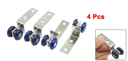 4Pcs Blue Plastic Double Wheels Design Sliding Door Roller Pulley for Cabinet
