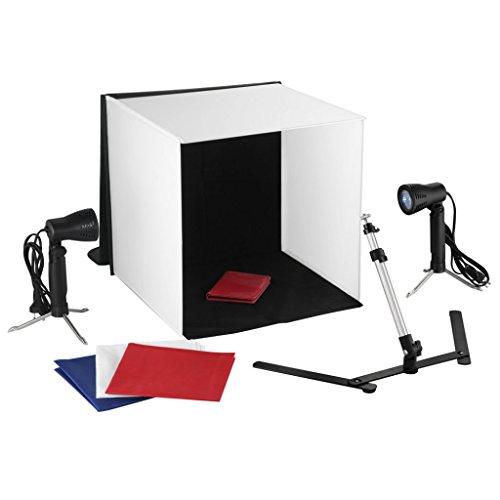 vidaXL Mini set fotografico, 2 lampade foto e stativi