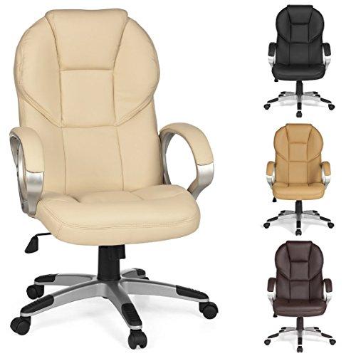 FineBuy-Brostuhl-MARK-Bezug-Kunstleder-Beige-Schreibtischstuhl-Design-X-XL-120kg-Chefsessel-Wippfunktion-ergonomisch-Polster-Drehstuhl-hohe-Rcken-Lehne-hhenverstellbar-mit-Armlehnen-Hochlehner-hoch