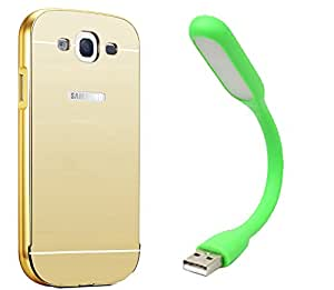 Novo Style Back Cover Case with Bumper Frame Case for Samsung Galaxy A5 Golden + Mini USB LED Light Adjust Angle / bendable Portable Flexible USB Light