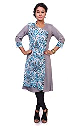 Indibelle Women Gray Rayon Overlap Printed Chiffon 3|4th Sleeve Kurti