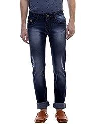 Raux Men's Dark Blue Slim Fit Mid Rise Jeans