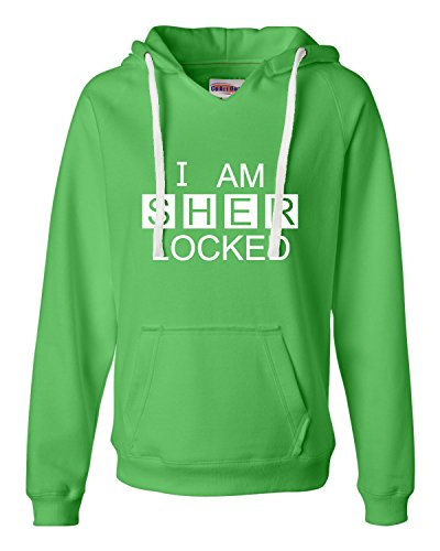XX-Large Lime Womens I Am Sherlocked Sherlock Holmes Inspired Deluxe Soft Fashion Hooded Sweatshirt Hoodie