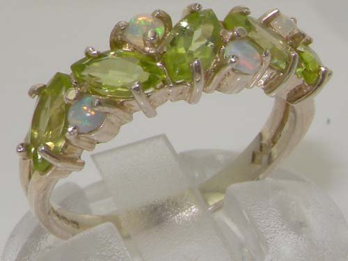 925 Sterling Silver Natural Peridot & Opal Womens Eternity Ring - Sizes 4 to 12 Available