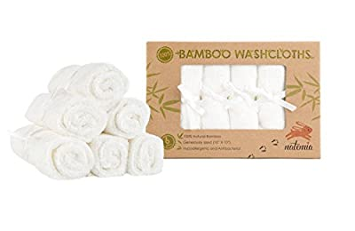 "Natemia Bamboo Baby Washcloths - Extra Soft Baby Bath Towels 6 - Pack, Natural Reusable 10""X10"" Wipes"