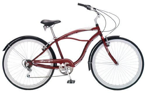 Pacific Shorewood Men's Cruiser Bike (26-Inch Wheels, Burgundy)