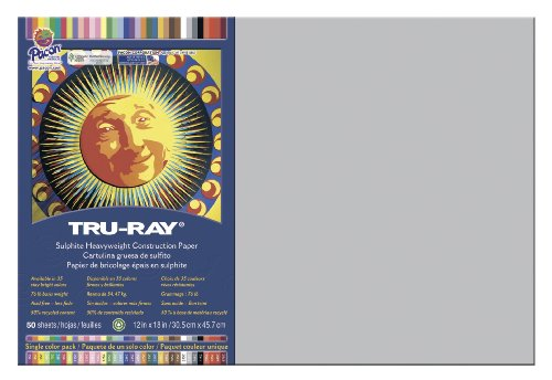 Riverside Paper Tru-Ray(R) Construction Paper, 12in. x 18in., 18in., Gray - 1