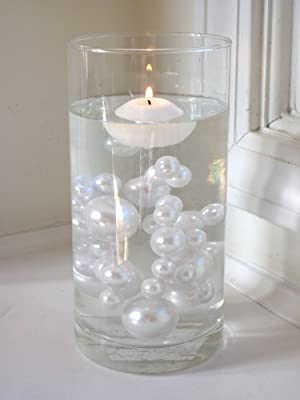 Unique 80 Jumbo & Assorted Sizes ALL WHITE PEARLS Vase Fillers Value Pack. NOT INCLUDING THE TRANSPARENT WATER GELS FOR FLOATING THE PEARLS (SOLD SEPARATELY).