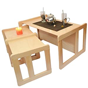 3 in 1 Adults Multifunctional Nest of Coffee Tables Set of 3 or Children's Multifunctional Furniture Set of 3, Two Small Chairs or Tables and One Large Bench or Table Beech Wood, Natural