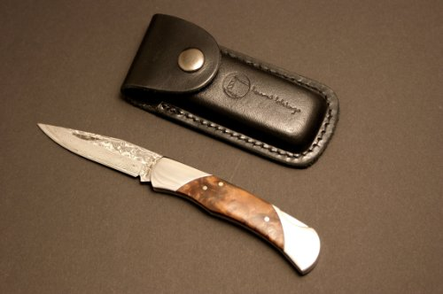 Izumi Ichiago - Little Fox Folder - Japanese Damascus Steel , With Leather Case
