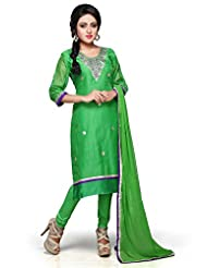 Utsav Fashion Women's Green Cotton Chanderi Readymade Kameez With Legging-Small