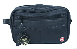 Genuine Leather Shaving Toiletry Travel Bag w/ 2 Zipper Compartments