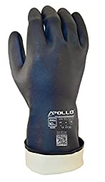 Apollo Performance Chemical Resistant Gloves 2063, Heavy Duty Neoprene Exterior, Flock Lined 30 mil Glove, Featuring Quick Response System and Instant QR Code Access, 1 Pair, Large, Navy Blue