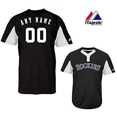 2-Button Cool-Base Colorado Rockies 2-Color Black/White Blank or CUSTOM Back (Name/#) MLB Officially Licensed Baseball Placket Jersey