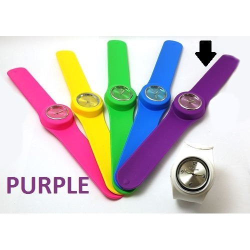 1 x PURPLE Slap On Quartz Silicone Sports Watch