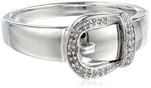 Sterling Silver Buckle Diamond Ring (0.05 cttw, I-J Color, I2-I3 Clarity) from Amazon Curated Collection