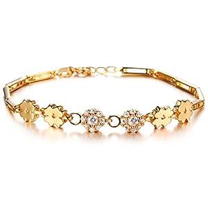 bigsoho Kupfer vergoldet mi 18K Gelbgold Zirconia Glück Kleeblatt Armband für Frauen Mädchen Geschenk zur Hochzeit - 19cm