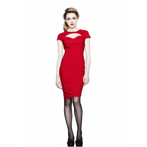 Hell Bunny dell'abito PENCIL DRESS SANDY Red-black rosso/nero Large