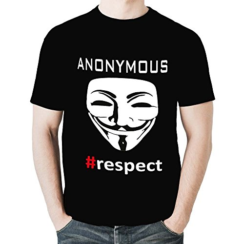 Anonymous-Maglietta da uomo, a maniche corte, da uomo, colore: nero, S T Shirt. anonimo ANONYMOUS Large