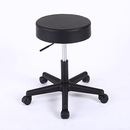 Superjare Adjustable Massage Stool Faux Leather Black 70101B