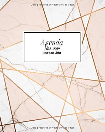 Agenda semana vista 2018-2019 Organizador y planificador personal con frases motivacionales, diseño patrón de mármol, Perfecto para anotar las ideas (Octubre 2018 - diciembre 2019)  [Collectif, Papeterie] (Tapa Blanda)