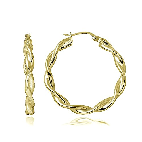 Hoops & Loops Gold Flash Sterling Silver 3mm Twist Polished Hoop Earrings, 30mm (Ring Size Chart Online compare prices)