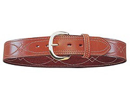 Bianchi B9 Fancy Stitched Belt Tan Brass Buckle (Size: 38)