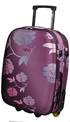 "Frenzy® Small 18"" Floral Pattern Lightweight Cabin Size Carry On Luggage Suitcase Trolley Bag, 48x32x19cm, weight 2.20Kg, capacity 22L (Purple)"