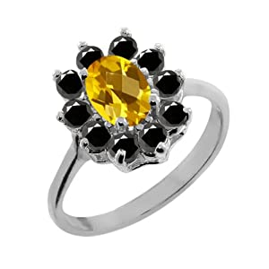 1.03 Ct Oval Checkerboard Yellow Citrine Black Diamond 925 Sterling Silver Ring