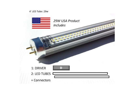 Case Of 58W Led Retrofit Kits For 4' Fixtures: (12) 29W 40K Led Tubes & (6) Drivers, For Delamping