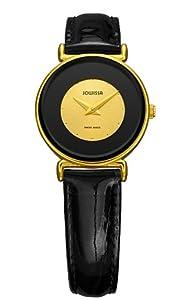 Jowissa Women's J3.018.M Elegance 30 mm Gold PVD Black Leather Watch