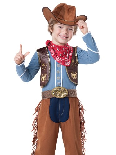 InCharacter Baby Boy's Cowboy Costume, Brown/Blue, 3T