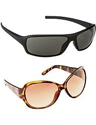 New Stylish UV Protected Combo Pack Of Sunglasses For Women / Girl ( BlackWrap-BrownButterfly ) ( CM-SUN-023 )