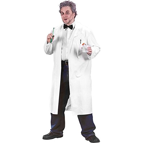 Adult Professor White Lab Coat Halloween Costume (Size: Standard 42-46)