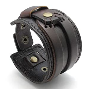 KONOV Jewelry Wide Genuine Leather Mens Bangle Cuff Bracelet, Punk Rock Style, Fits 7.5