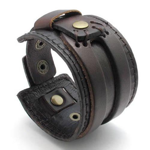 KONOV Jewelry Wide Genuine Leather Mens Bangle