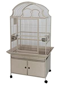 Polly's Pleasures Fan Top Wrought Iron Bird Cage 36 X 28