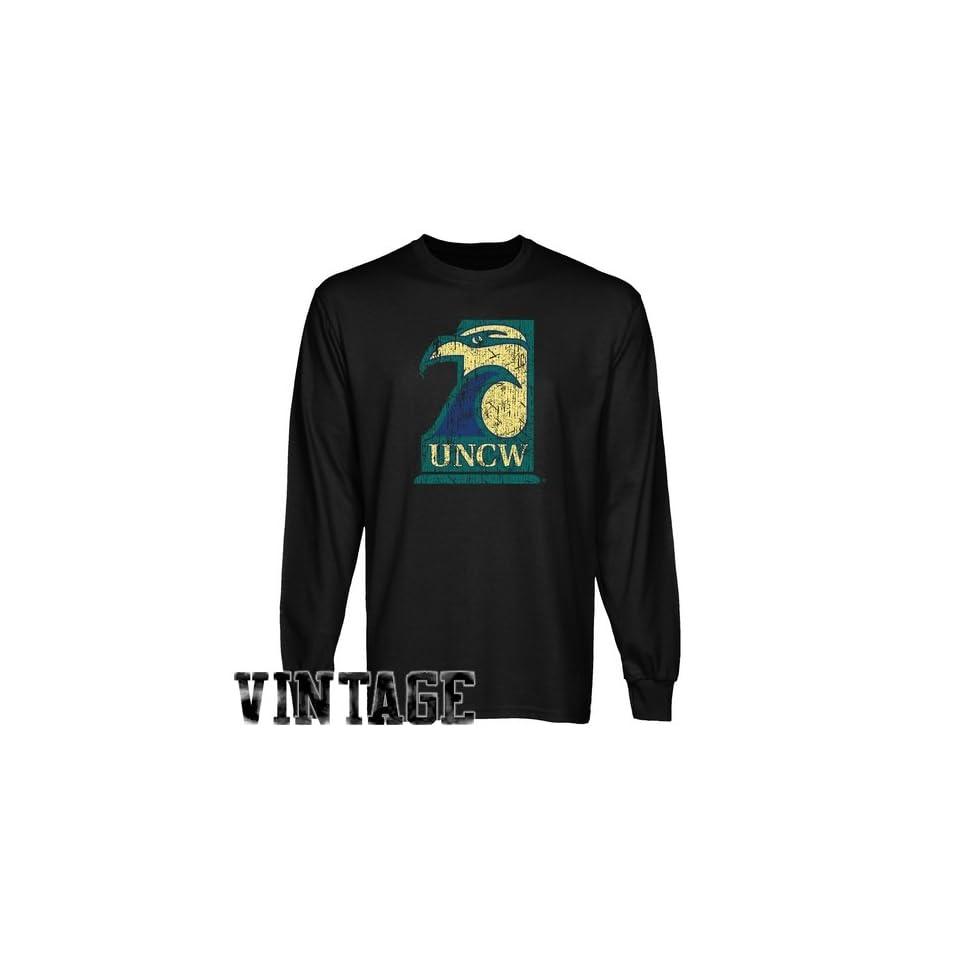 94c7e1ebd Seahawks T Shirt UNC Wilmington Seahawks Black Distressed Logo on ...
