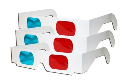 Great Features Of 3D Glasses - Red and CYAN Anaglyph-3 Pair, White Multipack