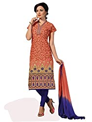 Fashionup Women's Cotton Ethnic Dress Material ( Orange )