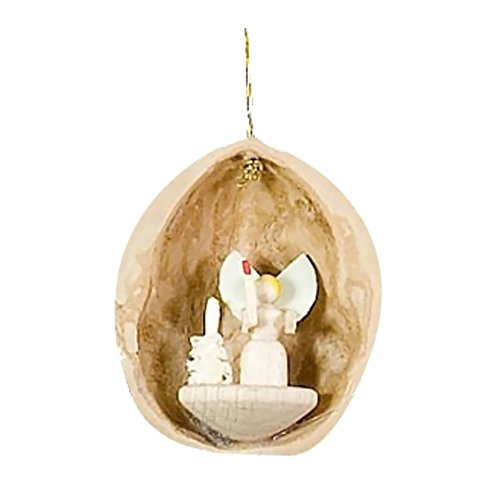 Alexander Taron Home Seasonal Décorative Accessories Dregeno Ornament – Nutshell with Angels – 1.5″H x 1.25″W x 1″D