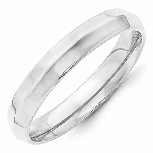 Roy Rose Jewelry 14K White Gold 4mm Knife Edge Comfort Fit Wedding Band Ring Size 8.5