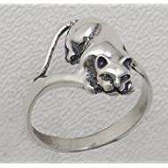 Playful Little Sterling Cat Ring