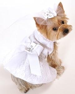 I See Spot's Satin and Lace Dog Pet Wedding Dress, Large, White