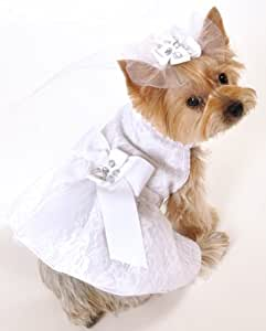 I See Spot's Satin and Lace Dog Pet Wedding Dress, White