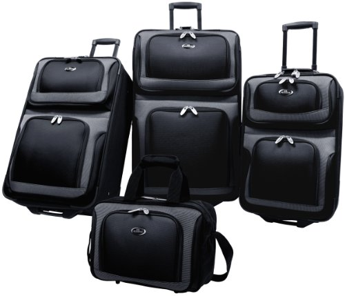 US Traveler New Yorker 4 Piece Luggage Set Expandable,Black,One Size image