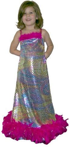 Kids Flapper Feather Rainbow Gown Costume
