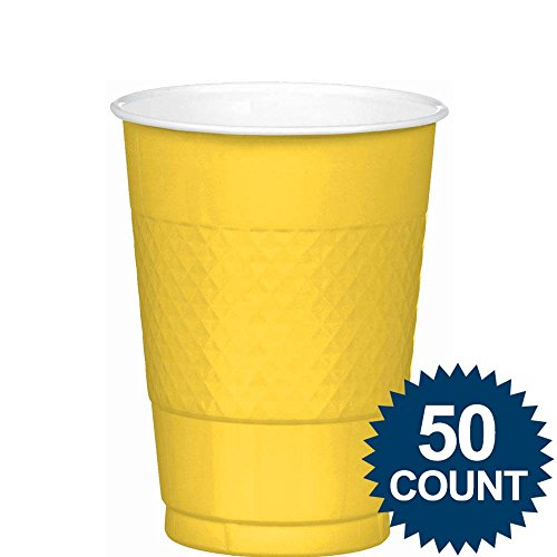 Amscan Big Party Pack 50 Count Plastic Cups, 12-Ounce, Sunshine Yellow