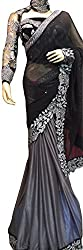 Black and Grey Designer Georgette With Embroidered Stylish Saree.
